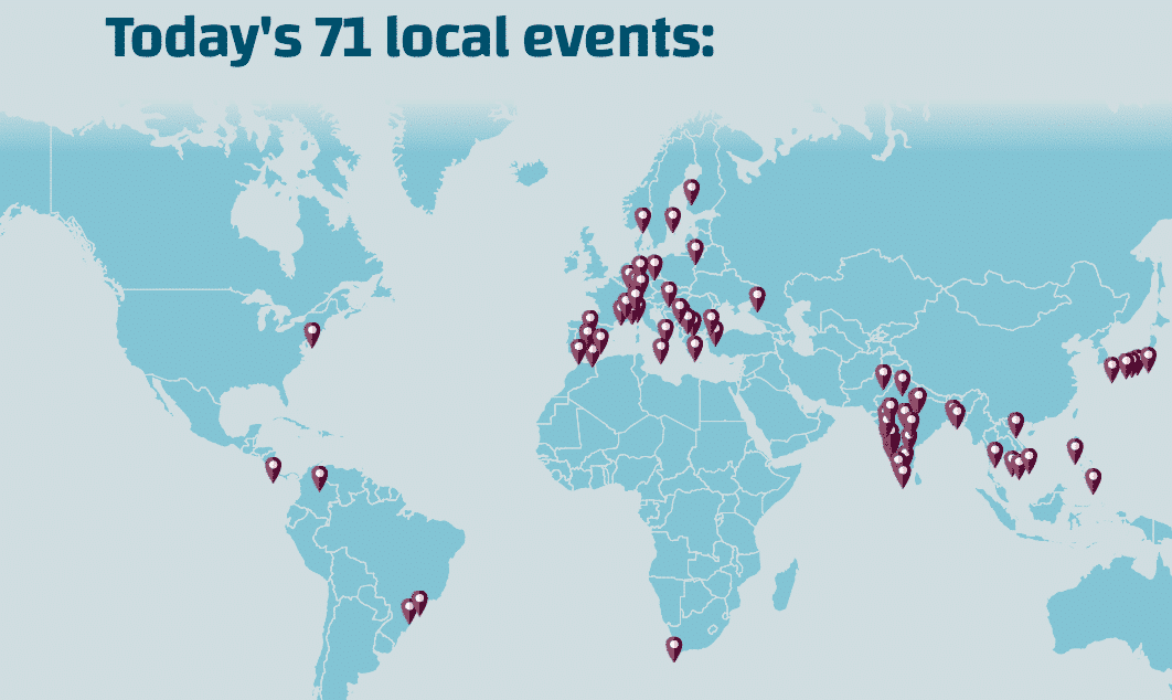 Carte des meetups WordPress Translation Day
