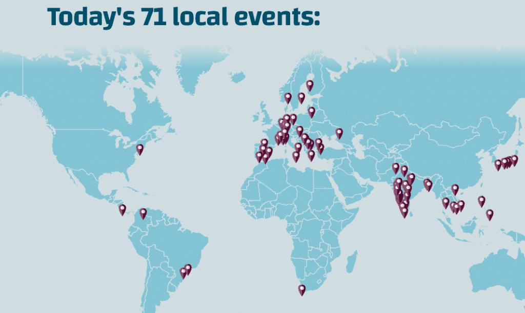 Carte des meetups WordPress Translation Day